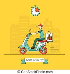 voedingsmiddelen, aflevering, vector, ontwerp, illustratie