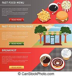 voedingsmiddelen, banieren, set, kleurrijke, vasten