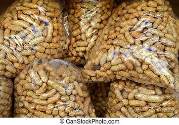 voedingsmiddelen, beeld, van, zakken, van, pinda