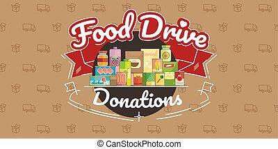 voedingsmiddelen, besturen, liefdadigheid, beweging, vector,...