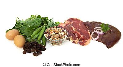 voedingsmiddelen, bronnen, van, ijzer
