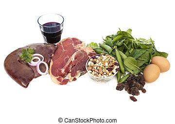 voedingsmiddelen, bronnen, van, ijzer, vrijstaand