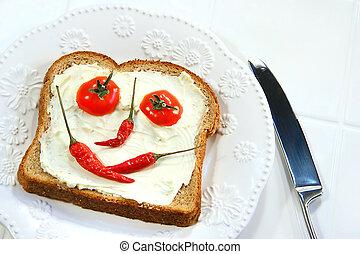 voedingsmiddelen, broodje, geschikte, smileygezicht