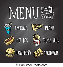 voedingsmiddelen, chalkboard, vasten