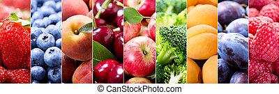 voedingsmiddelen, collage, van, fruit en groenten
