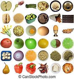 voedingsmiddelen, collage, vrijstaand