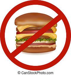 voedingsmiddelen, (colored)., gevaar, vasten, etiket