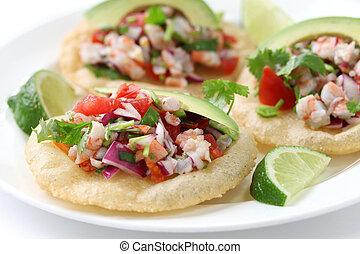 voedingsmiddelen, de, mexicaanse , tostadas, ceviche