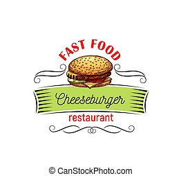 voedingsmiddelen, design., cheeseburger, vasten, eetlustopwekkend