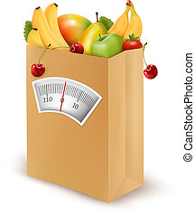 voedingsmiddelen, diet., bag., papier, fris, vector, gezonde , illustration.