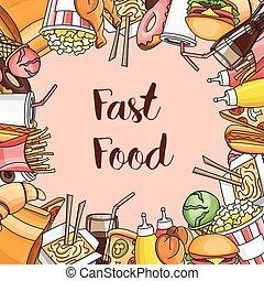 voedingsmiddelen, doodle, vector, vasten