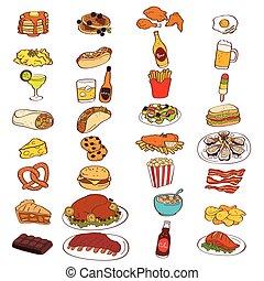voedingsmiddelen, drank, iconen