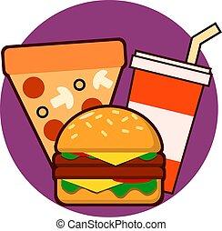 voedingsmiddelen, drank, illustratie, vector, vasten, combo, pizza, hamburge, pictogram