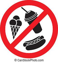 voedingsmiddelen, drank, nee, meldingsbord