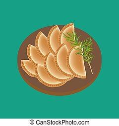 voedingsmiddelen, empanadas, illustratie