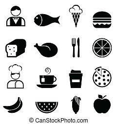 voedingsmiddelen, en, restaurant, iconen
