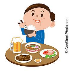 voedingsmiddelen, eten, dike man
