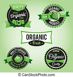 voedingsmiddelen, etiketten, organisch, kentekens