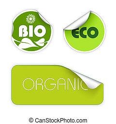 voedingsmiddelen, etiketten, set, organisch