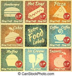 voedingsmiddelen, etiketten, set, retro