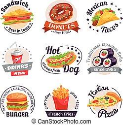 voedingsmiddelen, etiketten, set, vasten