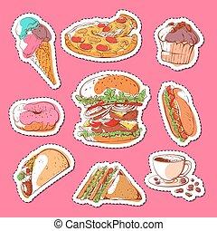 voedingsmiddelen, etiketten, set, vrijstaand, vasten