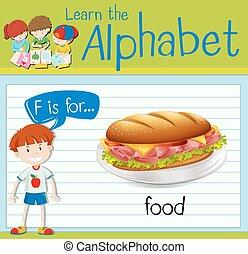 voedingsmiddelen, flashcard, brief f