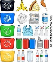 voedingsmiddelen, flessen, blikjes, papier, hergebruiken