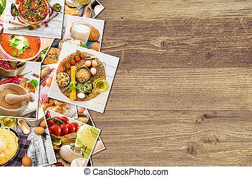 voedingsmiddelen, foto's, op, een, houten, achtergrond