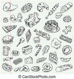 voedingsmiddelen, freehand, tekening, high-calorie