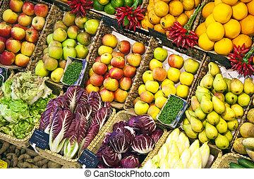 voedingsmiddelen, fris, aangeboden, markt