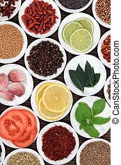 voedingsmiddelen, fris, kruiden