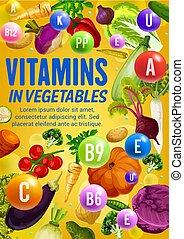 voedingsmiddelen, fris, vegetariër, vitamine, vegetables.