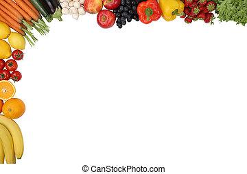 voedingsmiddelen, fruit en groenten, met, copyspace