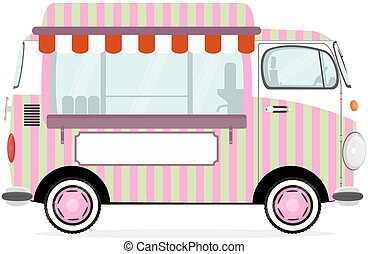 voedingsmiddelen, gekke , straat, vrachtwagen, spotprent