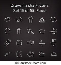 voedingsmiddelen, getrokken, set, pictogram, chalk.