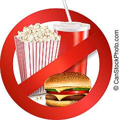 voedingsmiddelen, gevaar, vasten, label., vector