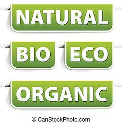 voedingsmiddelen, groene, bookmarks, set, organisch
