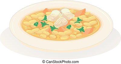 voedingsmiddelen, groentes, illustratie, amerikaan, bonen, bakt