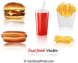 voedingsmiddelen, groot, products., groep, vasten