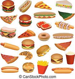 voedingsmiddelen, groot, set, vasten