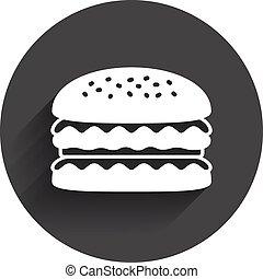 voedingsmiddelen, hamburger, icon., hamburger, symbool.