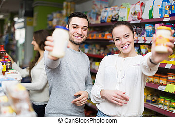 voedingsmiddelen, het glimlachen, tinned, kies, mensen
