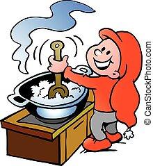 voedingsmiddelen, het koken, elf, kerstmis, vrolijke