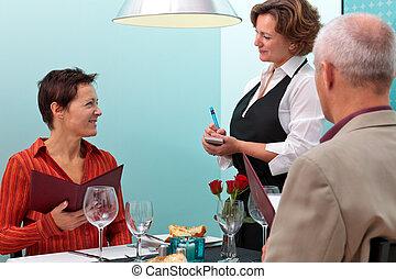 voedingsmiddelen, het nemen van orde, waitress