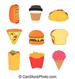 voedingsmiddelen, hete drank, vasten, set., room, hamburger, franse , pizza, bakken, ijs, dog, broodje