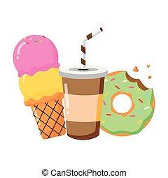 voedingsmiddelen, ijs, donut, vasten, soda, room