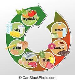 voedingsmiddelen, infographic, groepen