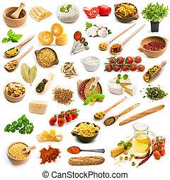 voedingsmiddelen, ingredienten, italiaans keuken, op, een, witte achtergrond