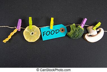 voedingsmiddelen, inscriptie, geschreven, label, papier